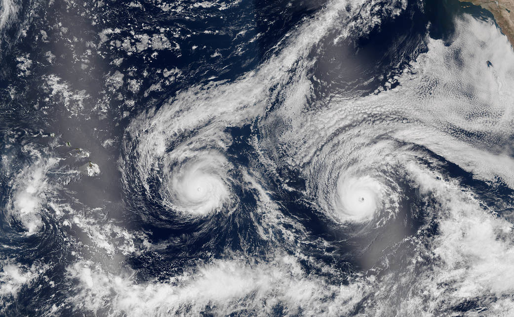 Two hurricanes over Pacific Ocean imaged from orbit