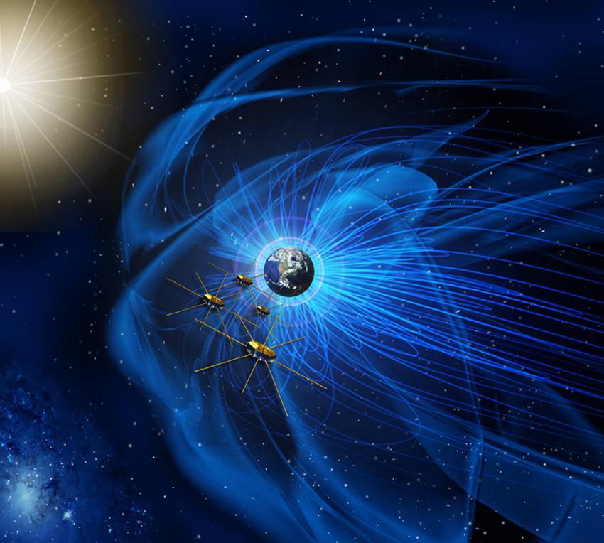 MMS-satelliterna flyger i formation i jordens magnetosfär (teckning: NASA)