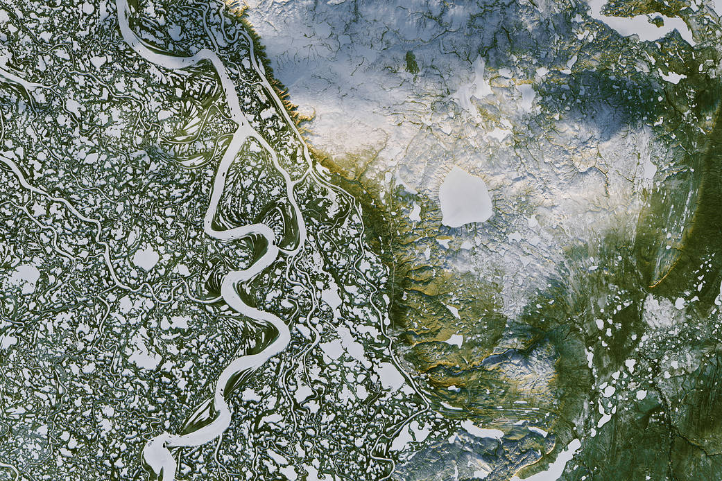 Satellite view of frozen river system in Canada