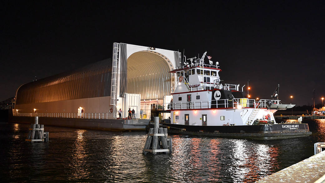 Pegasus barge departing NASA's Stennis Space Center in Bay St. Louis, Mississippi