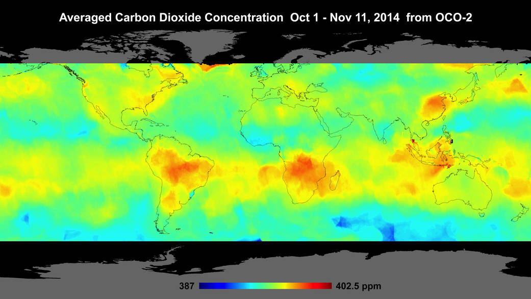 Global atmospheric carbon dioxide concentrations from Oct. 1 through Nov. 11