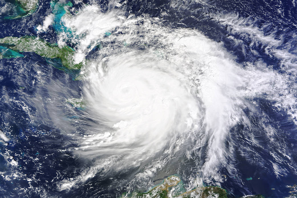 Satellite image of Hurricane Matthew over Haiti
