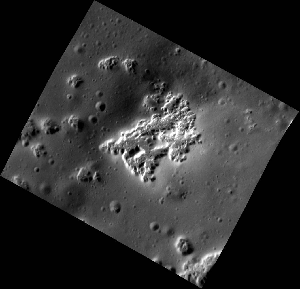 This high-resolution view shows hollows on the southwestern peak ring of the Scarlatti basin