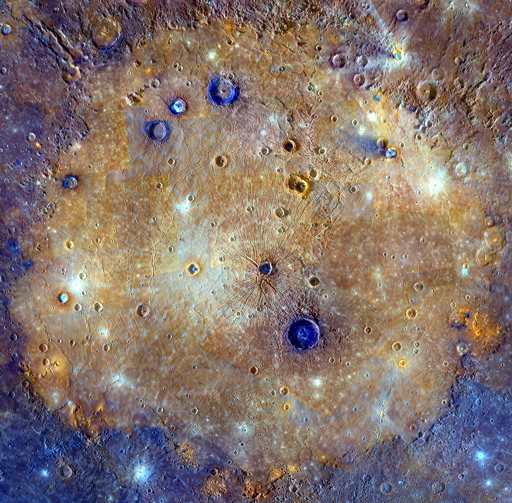 This mosaic of Caloris basin is an enhanced-color composite overlain on a monochrome mosaic feature