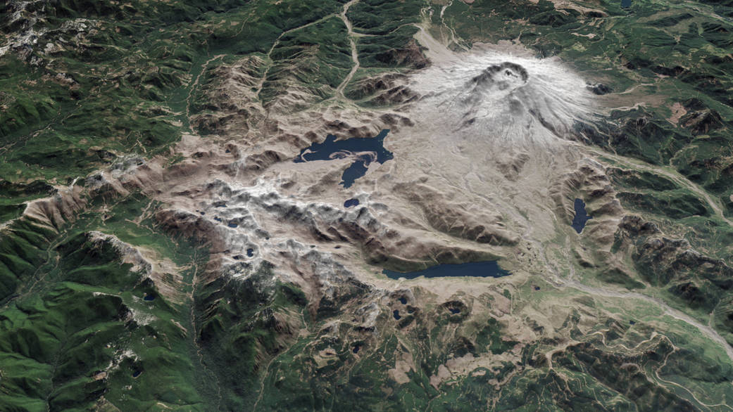 Overhead three dimensional view of Mt. Saint Helens