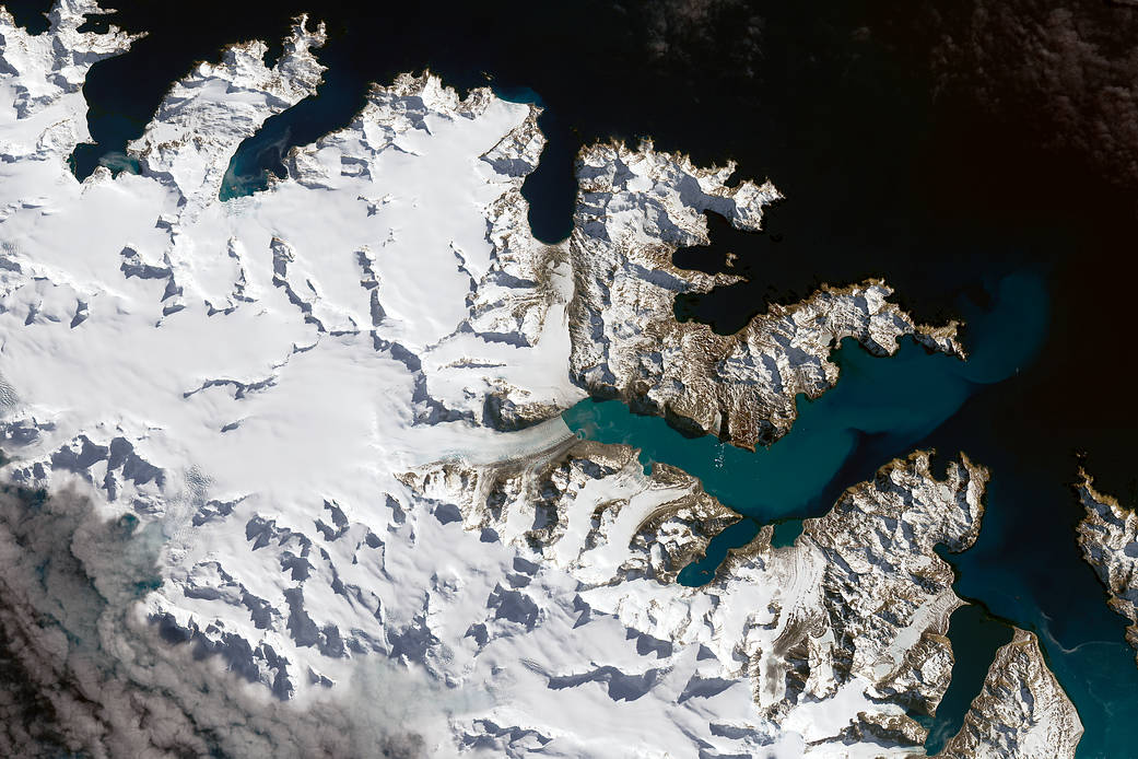 closeup satellite image of sub-Antarctic island with glaciers