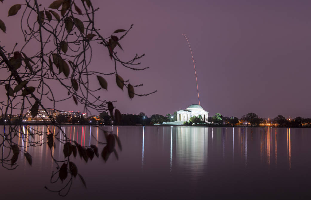 The Antares rocket is seen above the Jefferson Memorial on Nov. 17, 2018