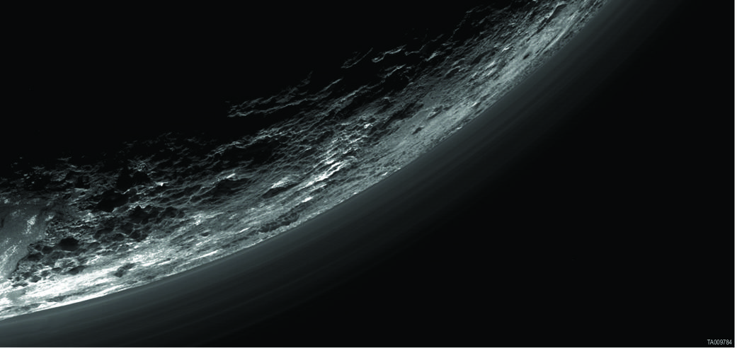 Haze layers over limb of Pluto imaged during flyby
