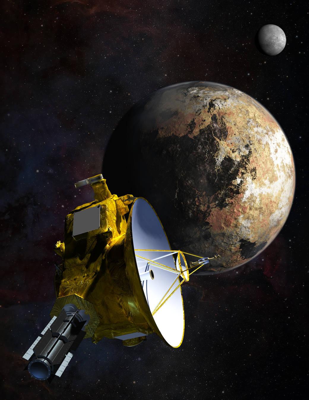 Representacíón artística de la aproximación de New Horizons a Plutón