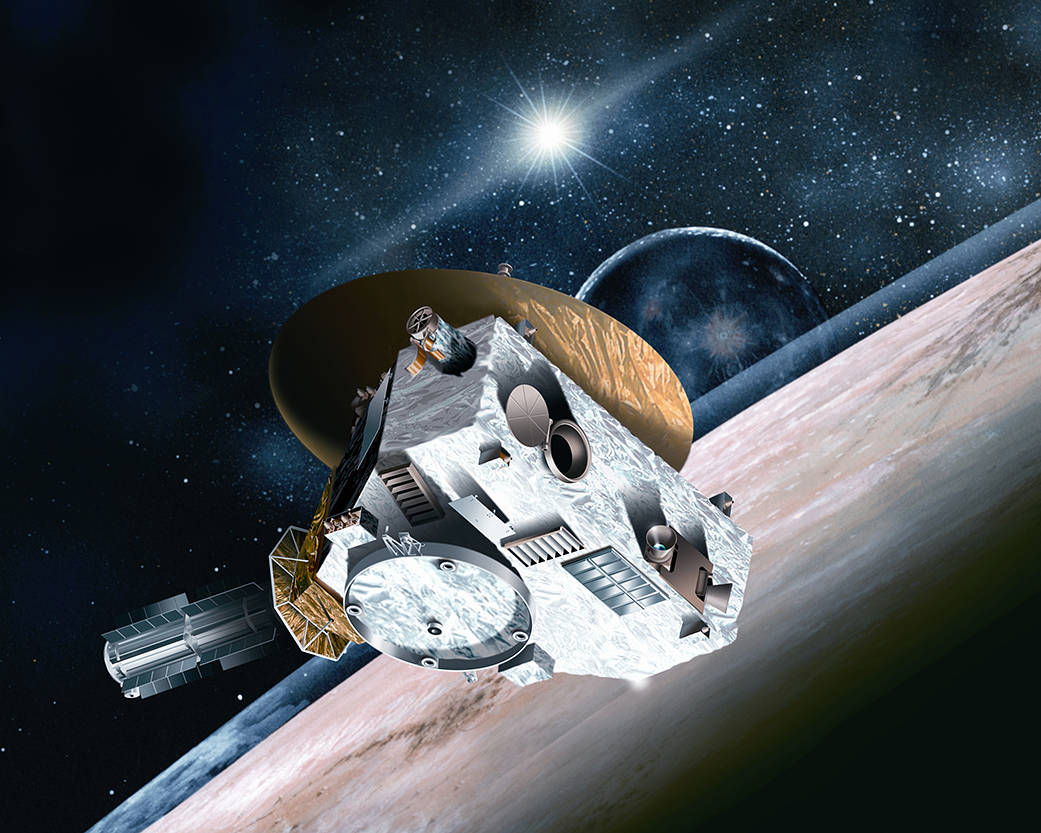 Ilustração da sonda sobre Pluto, Imagem NASA (Johns Hopkins University Applied Physics Laboratory/Southwest Research Institute)