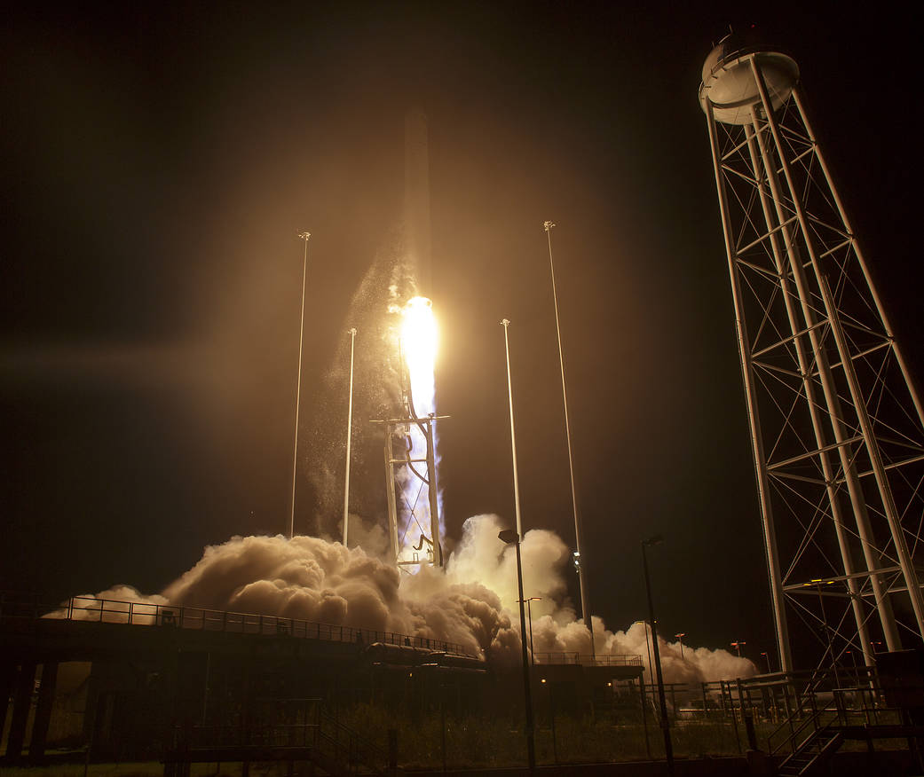 Liftoff of Antares rocket at night from NASA Wallops