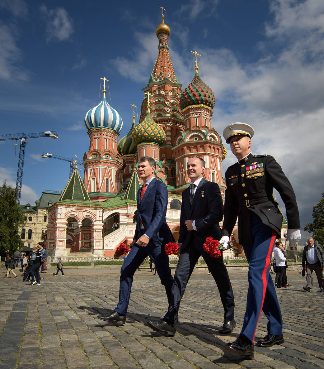 Expedition 52-53 Crew Members in Red Square