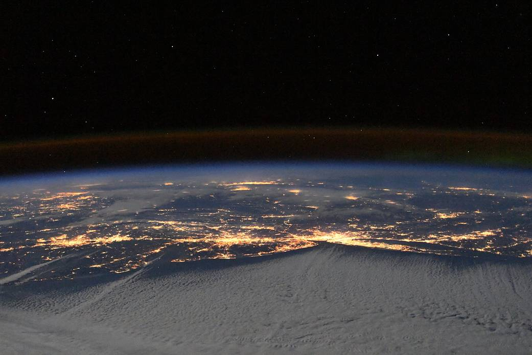 east coast at night from space station