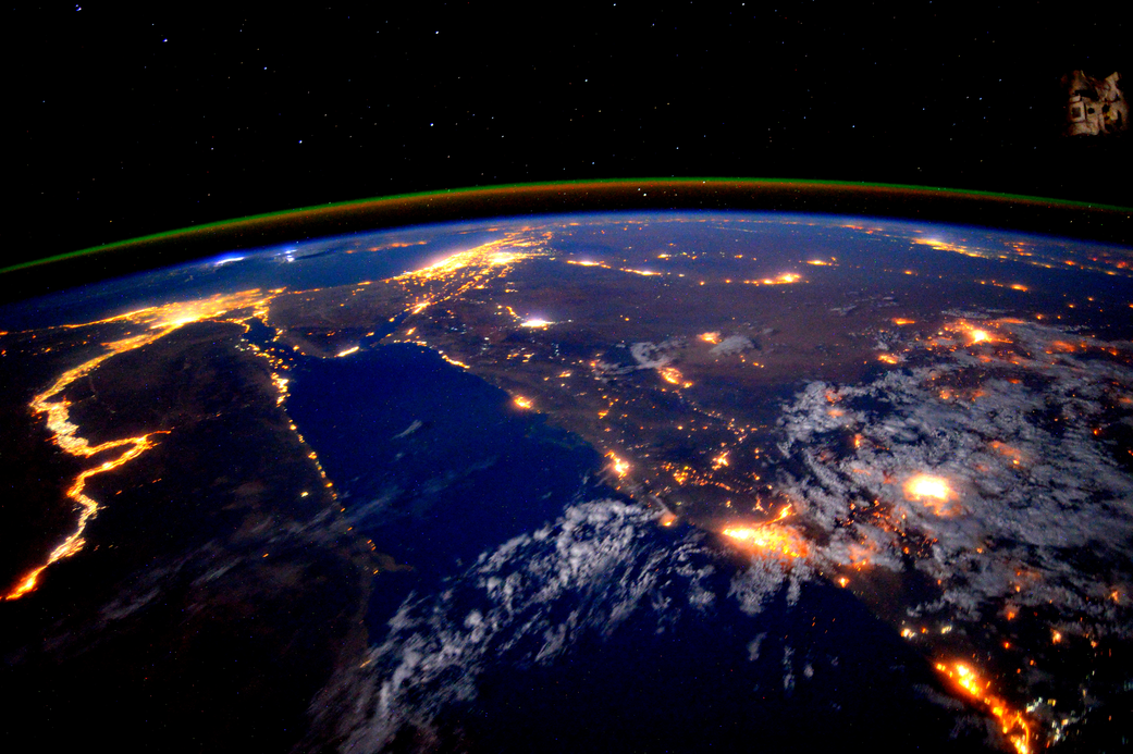 The Nile river and Red Sea at night photographed from the International Space Station.