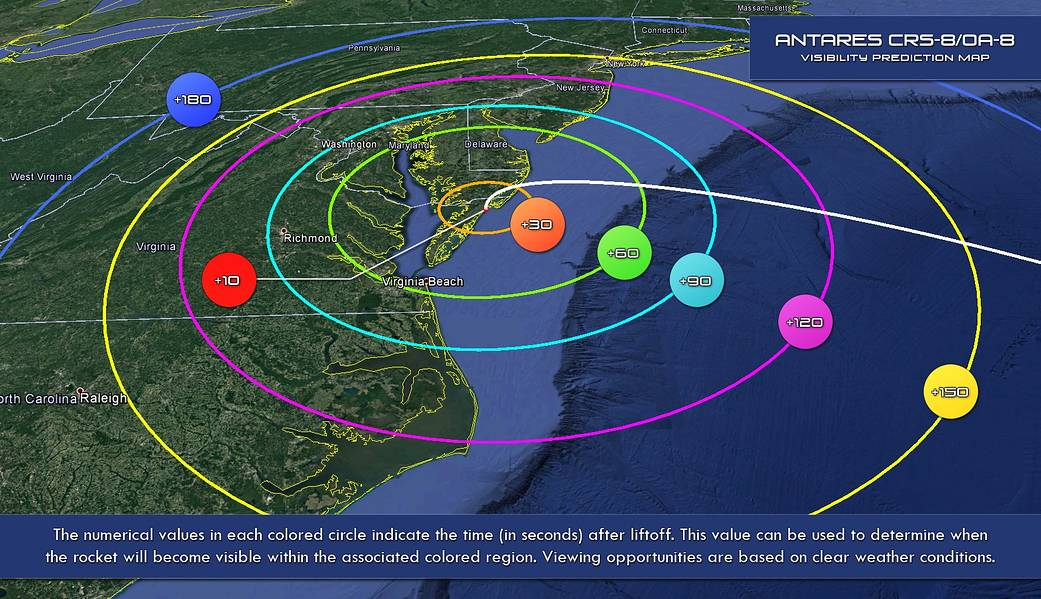 Wallops Launch visibility map