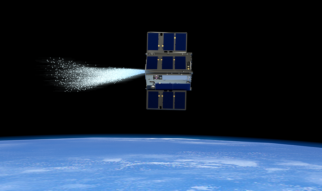 An OCSD spacecraft activates its thruster.