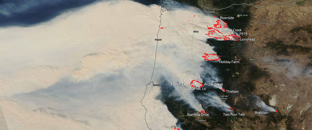 Labeled Aqua image of the Oregon Fires from Sep 10, 2020.