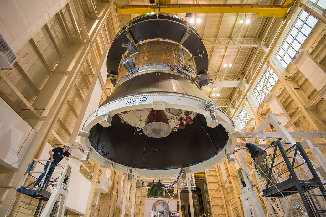 Engineers preparing to test structural integrity of Orion service module
