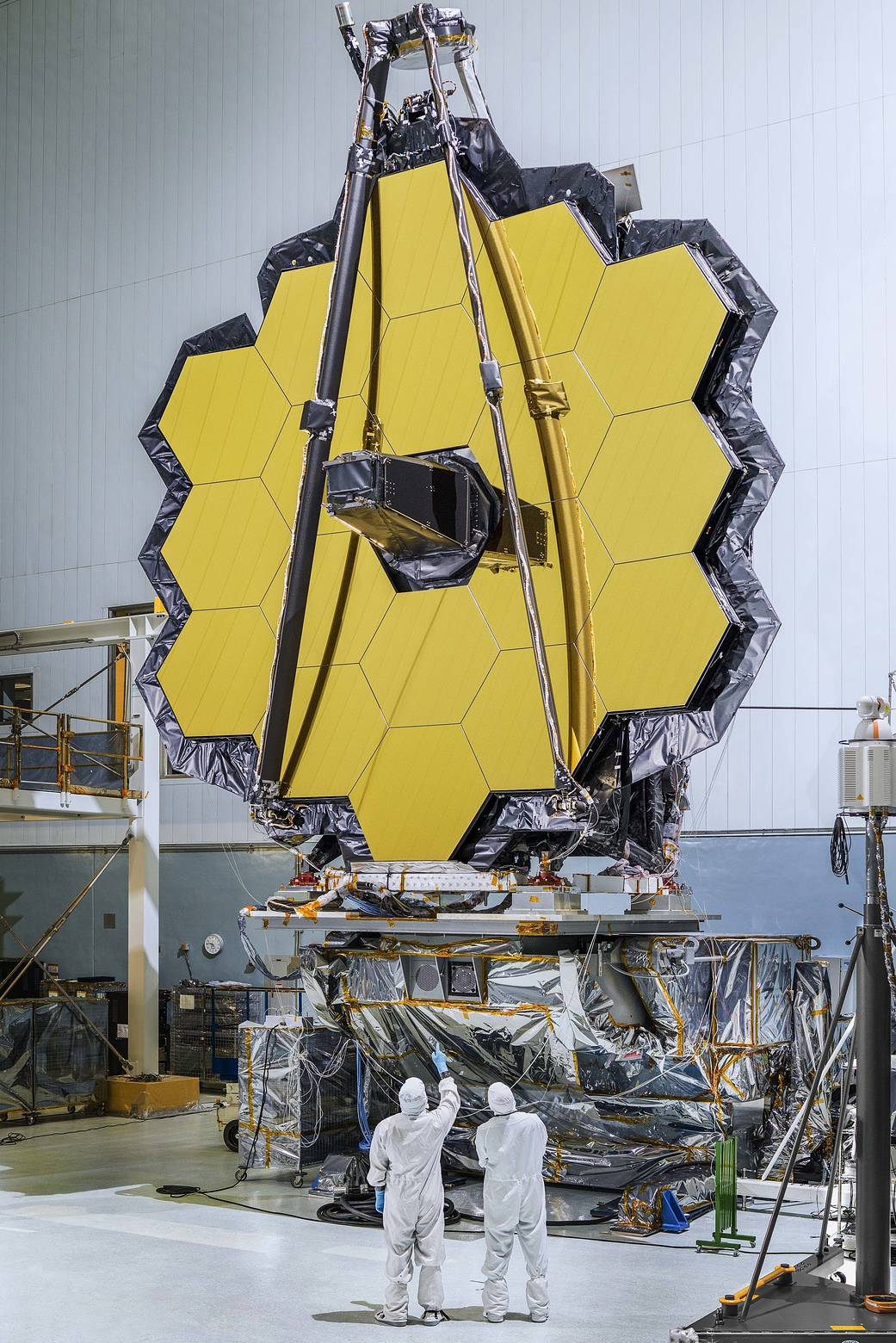 Webb Telescope honeycomb-shaped primary mirror upright in clean room