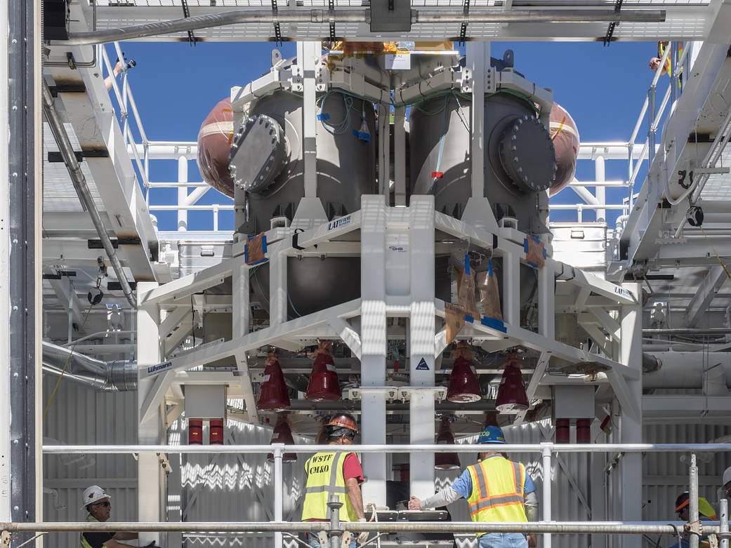 Service module insallation on Orion spacecraft