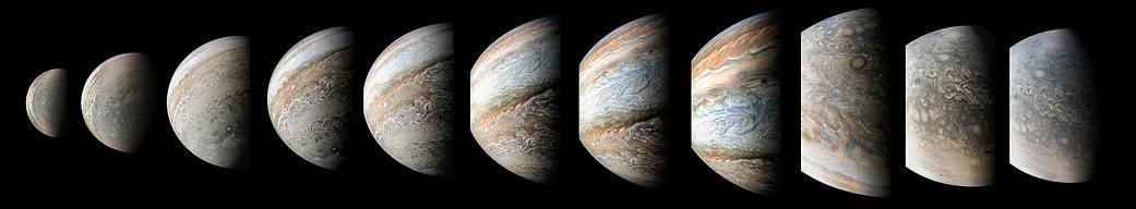 Sequence of color-enhanced images of Jupiter