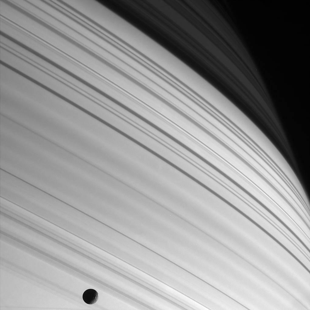long thin shadows of Saturn's rings