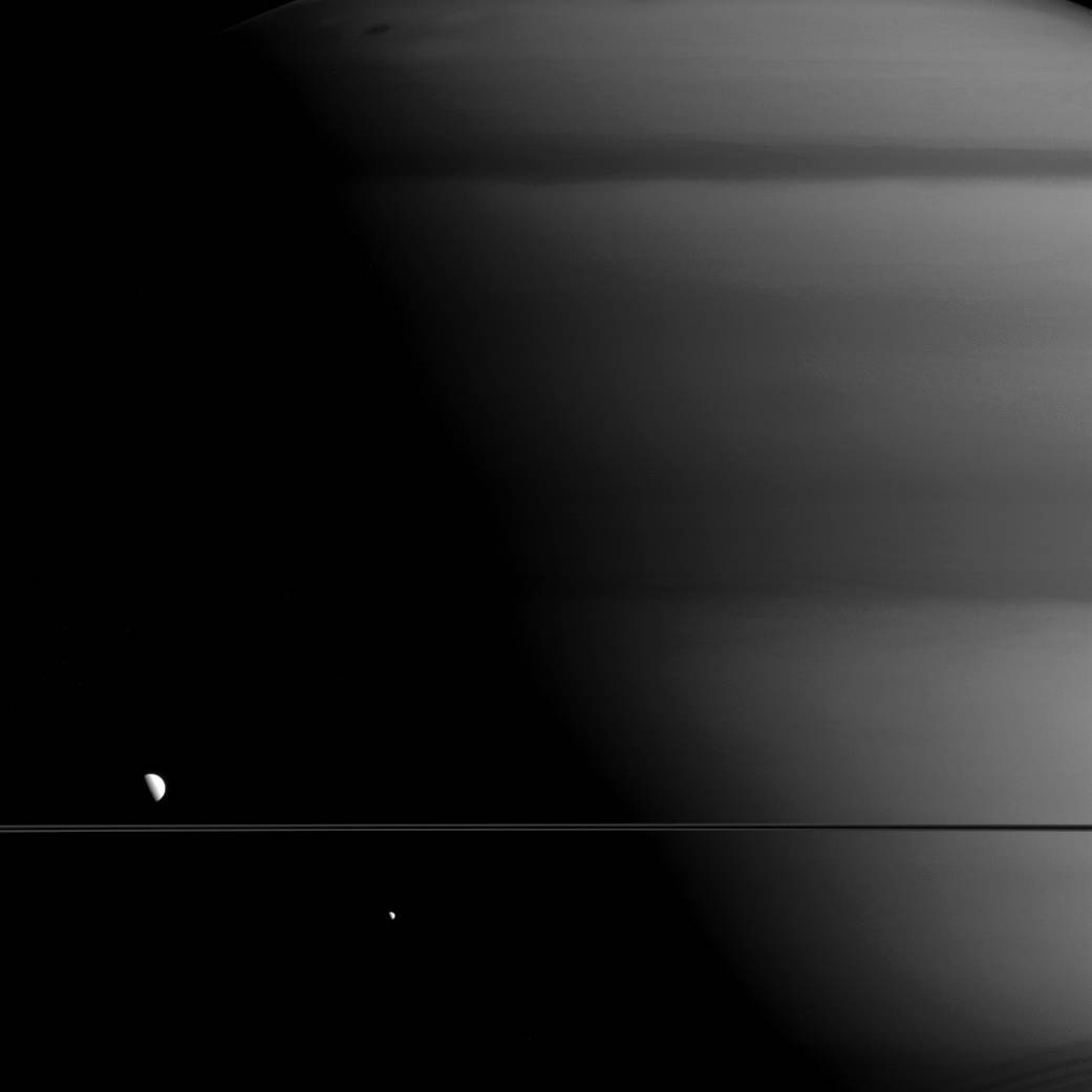 Saturn, Mimas and Dione