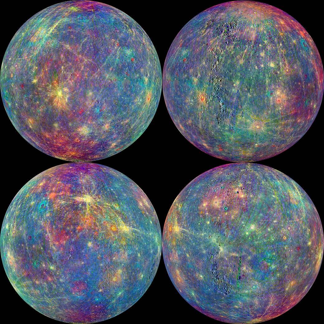 La sonda MESSENGER ha estado realizando mediciones espectrales de la superficie desde que MESSENGER entró en la órbita de Mercurio el 17 de Marzo de 2011