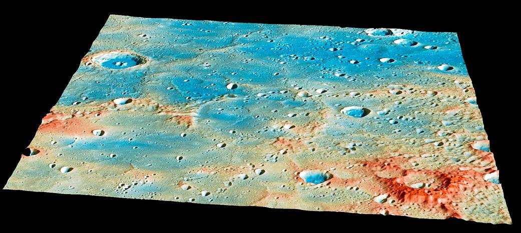 Topography color coded image of section of Mercury's surface