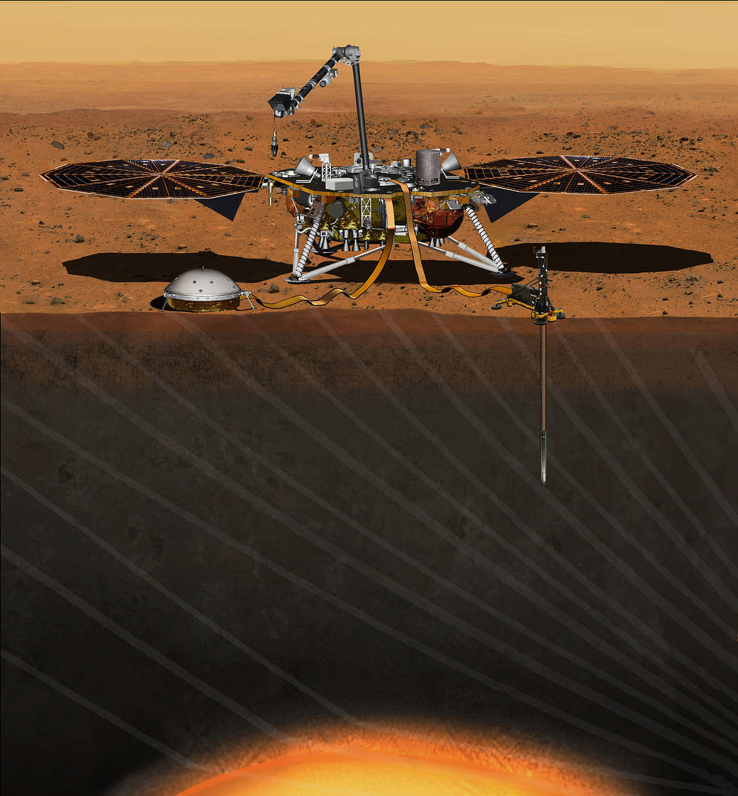 This artist's concept depicts NASA's InSight Mars lander fully deployed for studying the deep interior of Mars