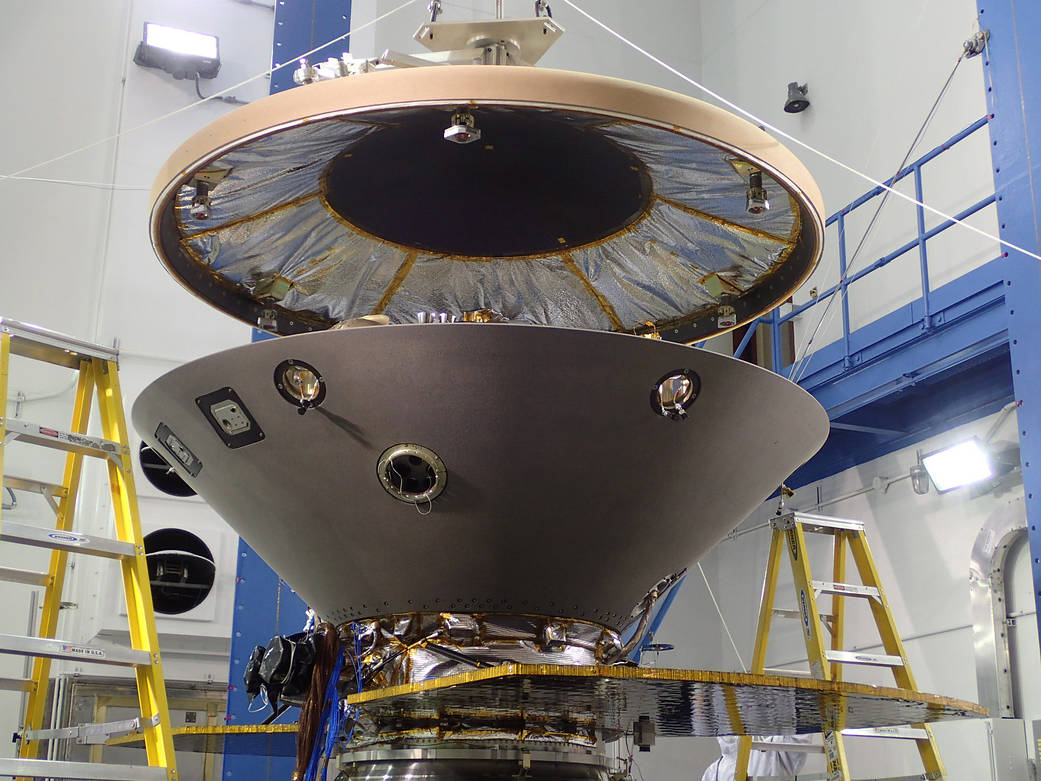 The heat shield is suspended above the rest of the InSight spacecraft