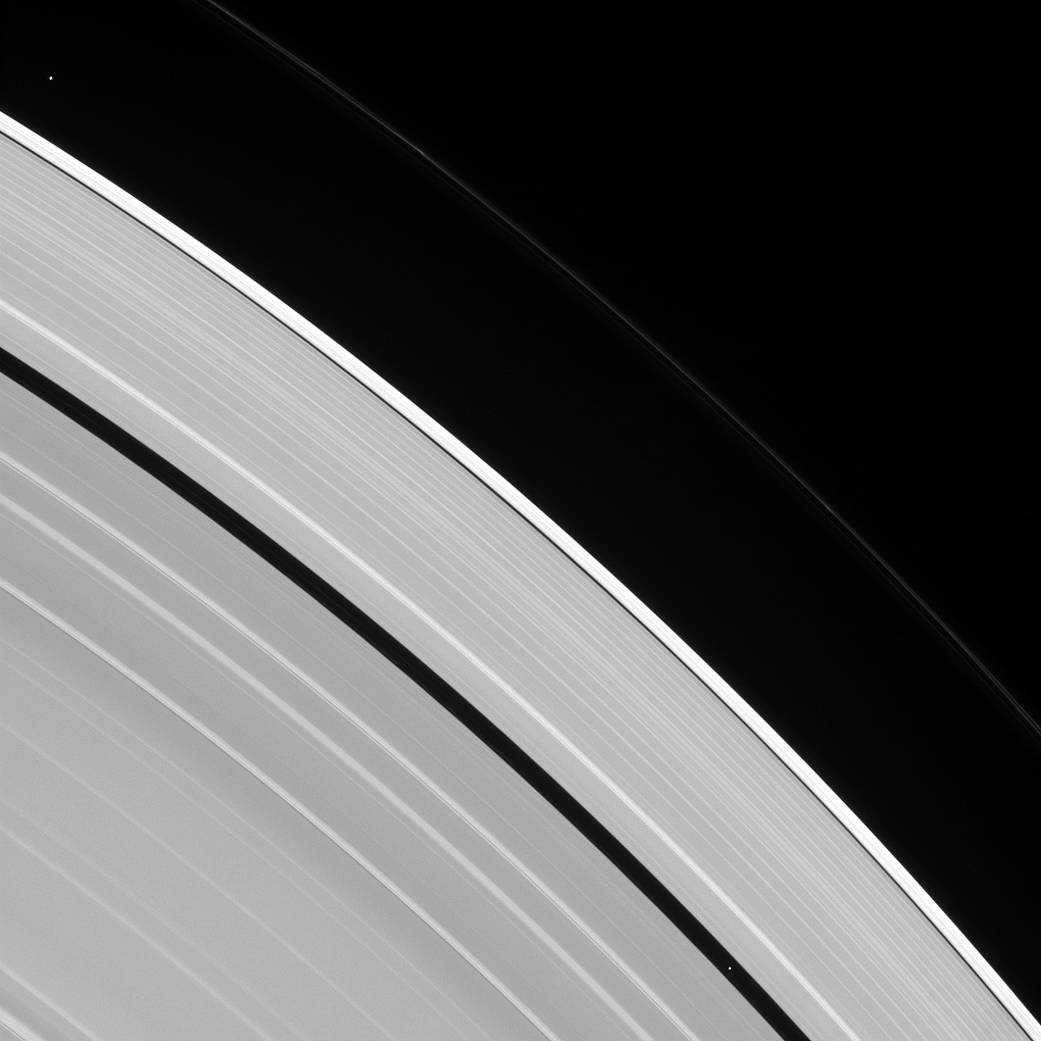 Saturn's rings and tiny moons