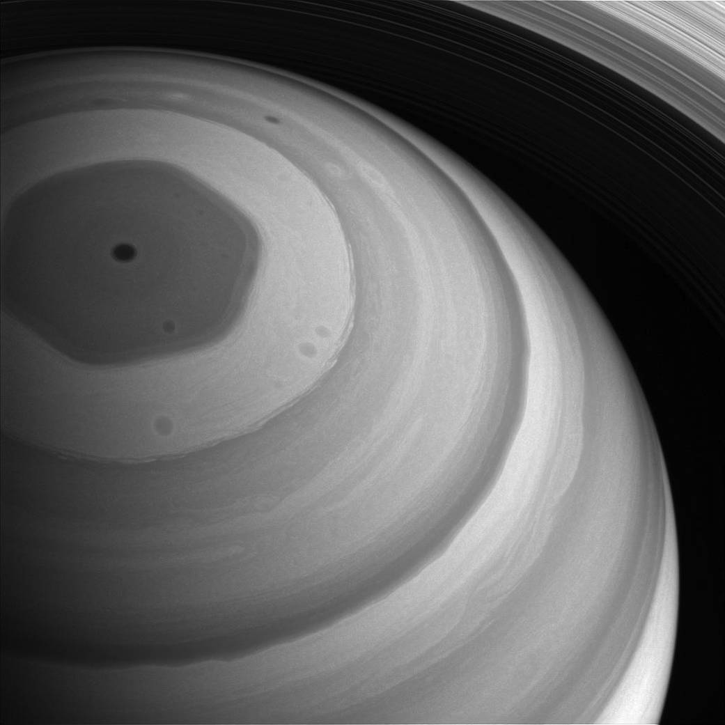 View of Saturn's north with hexagon shape visible