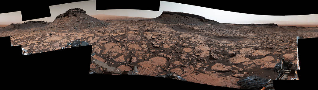 This 360-degree panorama was acquired by the Mast Camera (Mastcam) on NASA's Curiosity Mars rover while the rover was in an area called