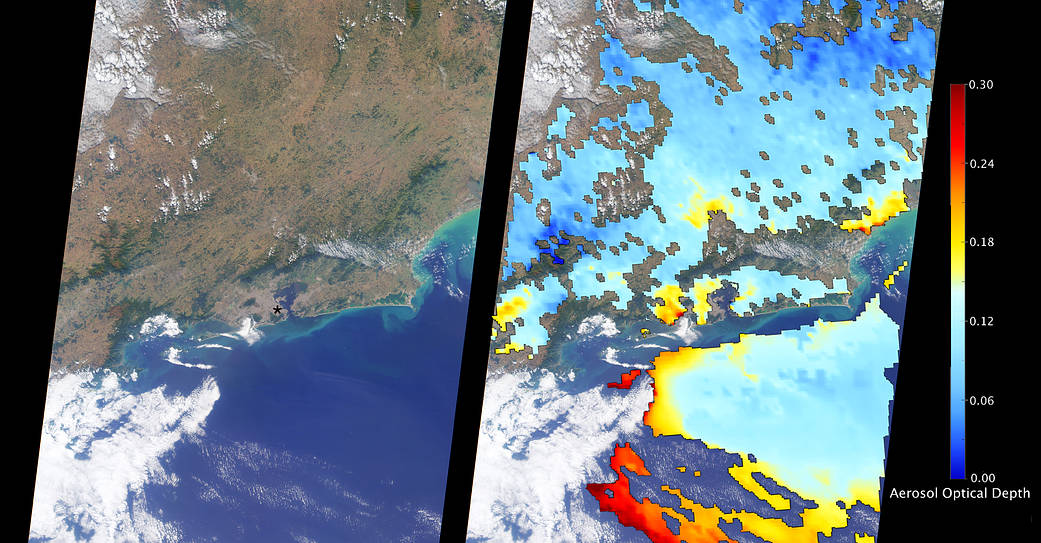 Satellite image of Rio de Janeiro at left paired with map of aerosols in the region on right