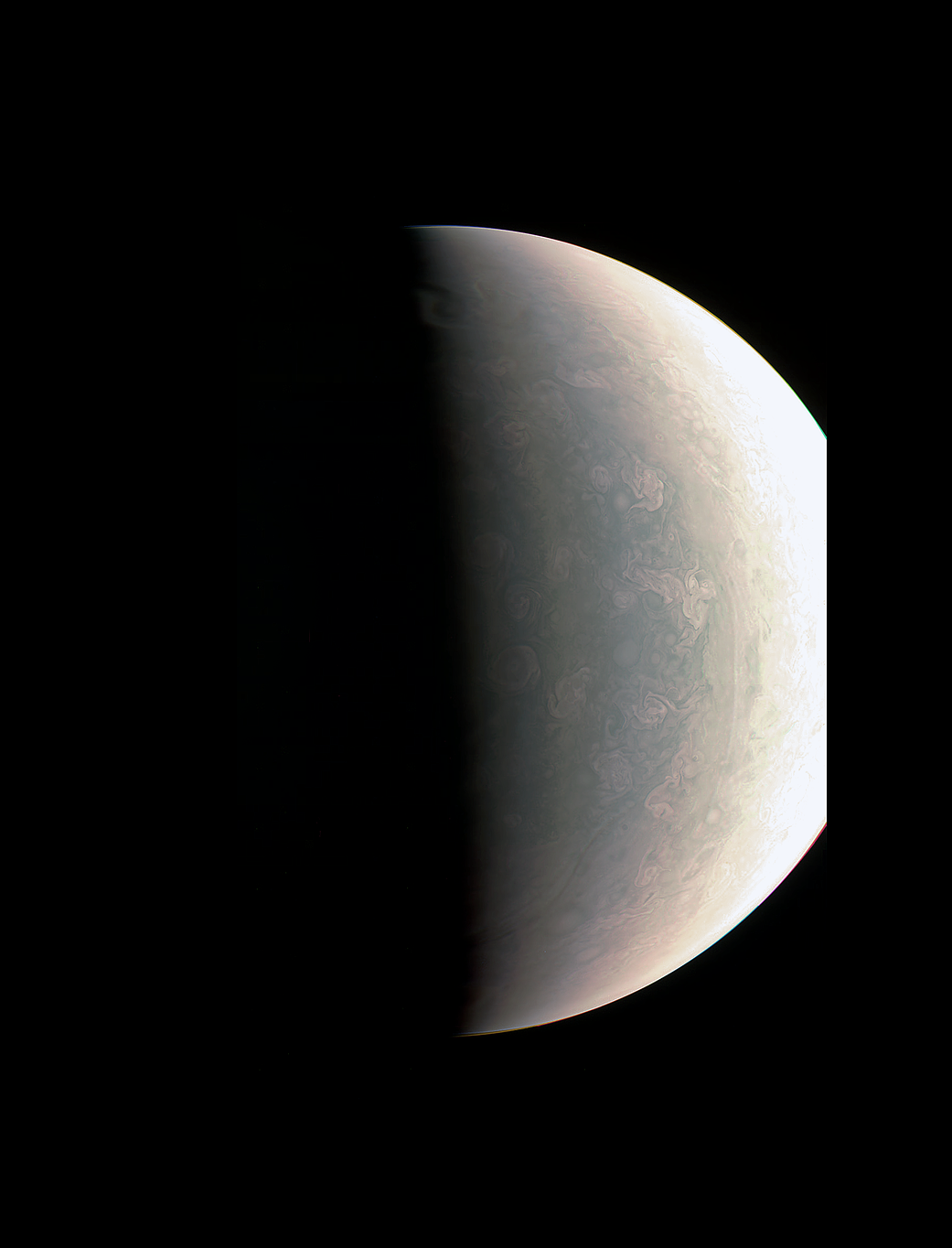 Jupiter's polar cloud tops