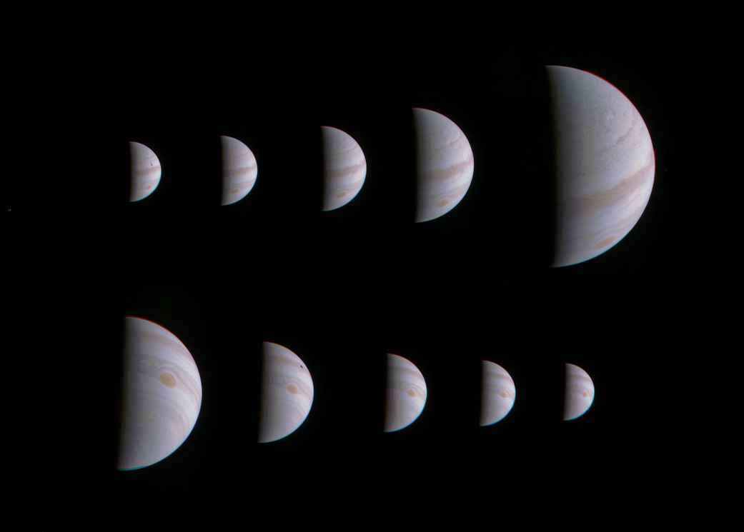 Montage of 10 JunoCam images shows Jupiter growing and shrinking