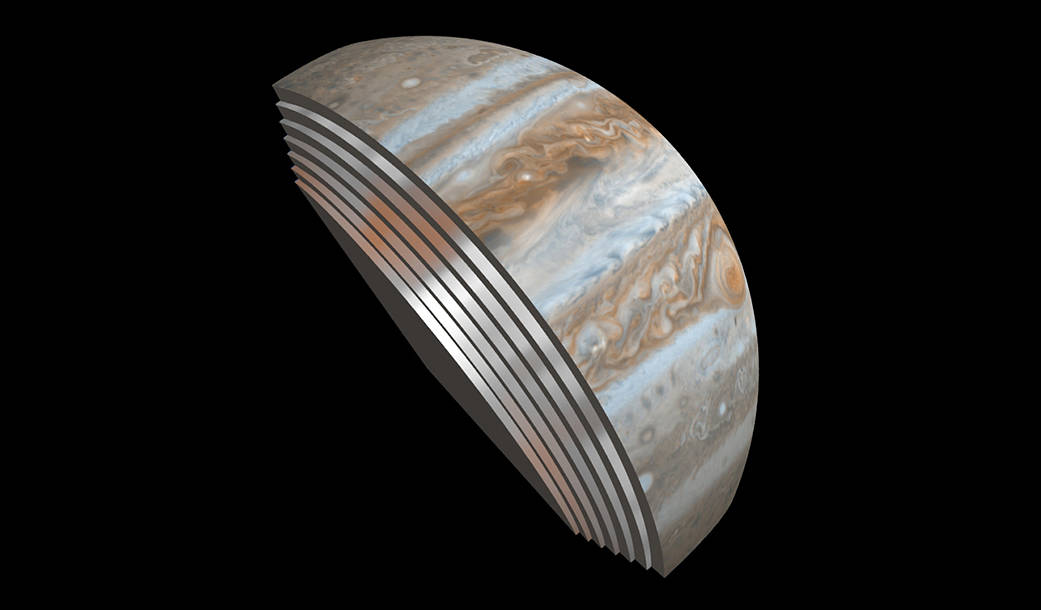 This composite image depicts Jupiter's cloud formations