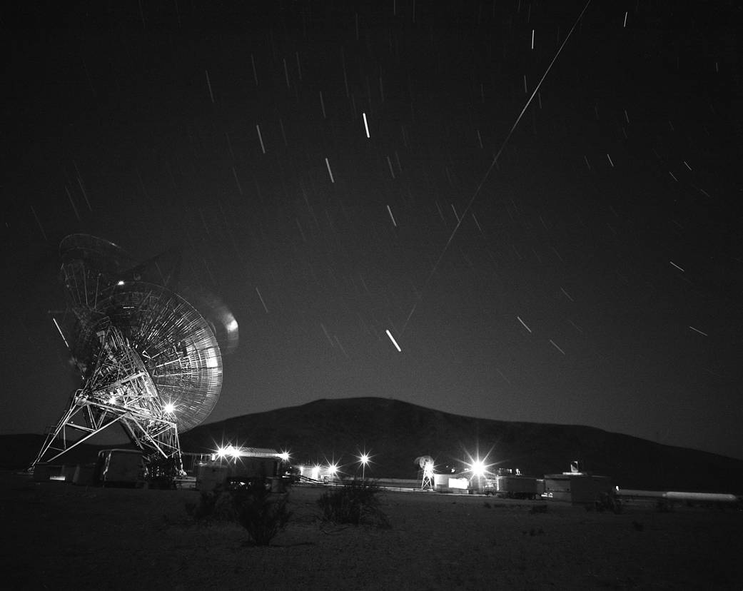 This photograph shows the first pass of Echo 1, America's first communications satellite, over the Goldstone Tracking Station