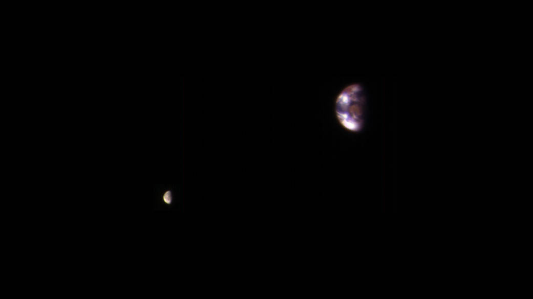 Earth and Its Moon, as Seen From Mars