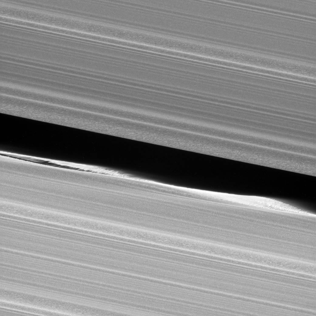 Of planet earth as a point of light between the icy rings of saturn - Before Cassini Entered Its Grand Finale Orbits It Acquired Unprecedented Views Of The Outer Edges Of The Main Ring System For Example This Close Up View