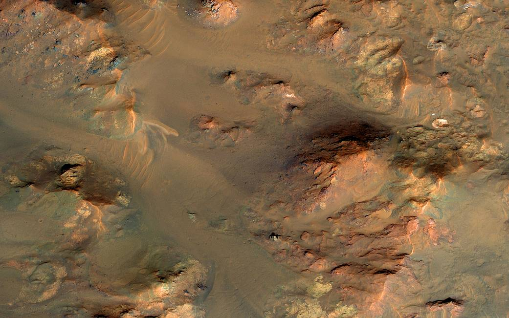 Central uplifted region of an impact crater on Mars