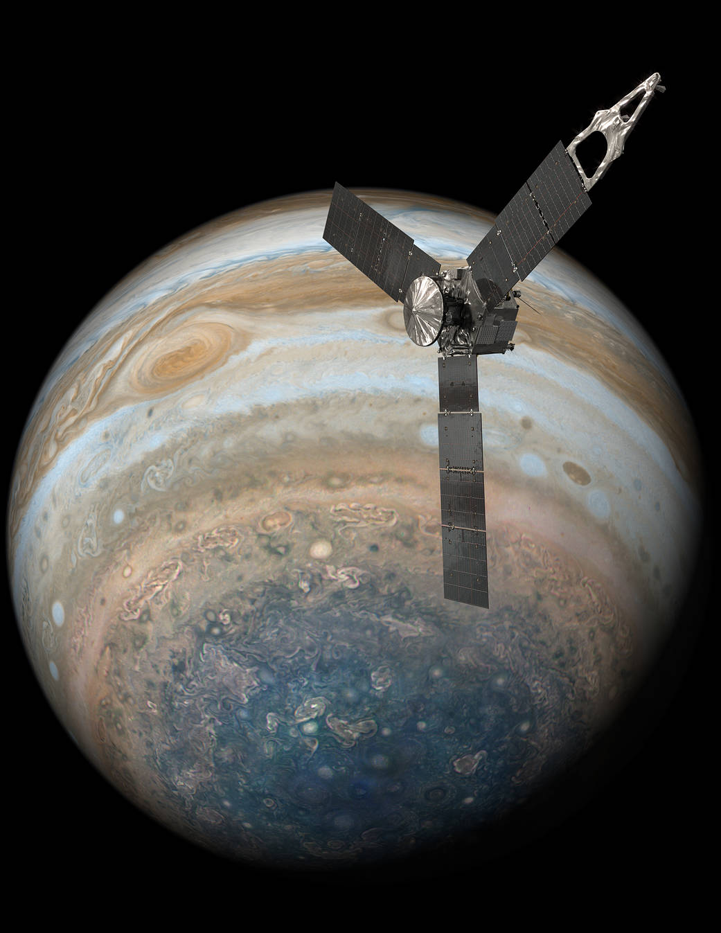 Juno Over Jupiter's South Pole (Illustration)