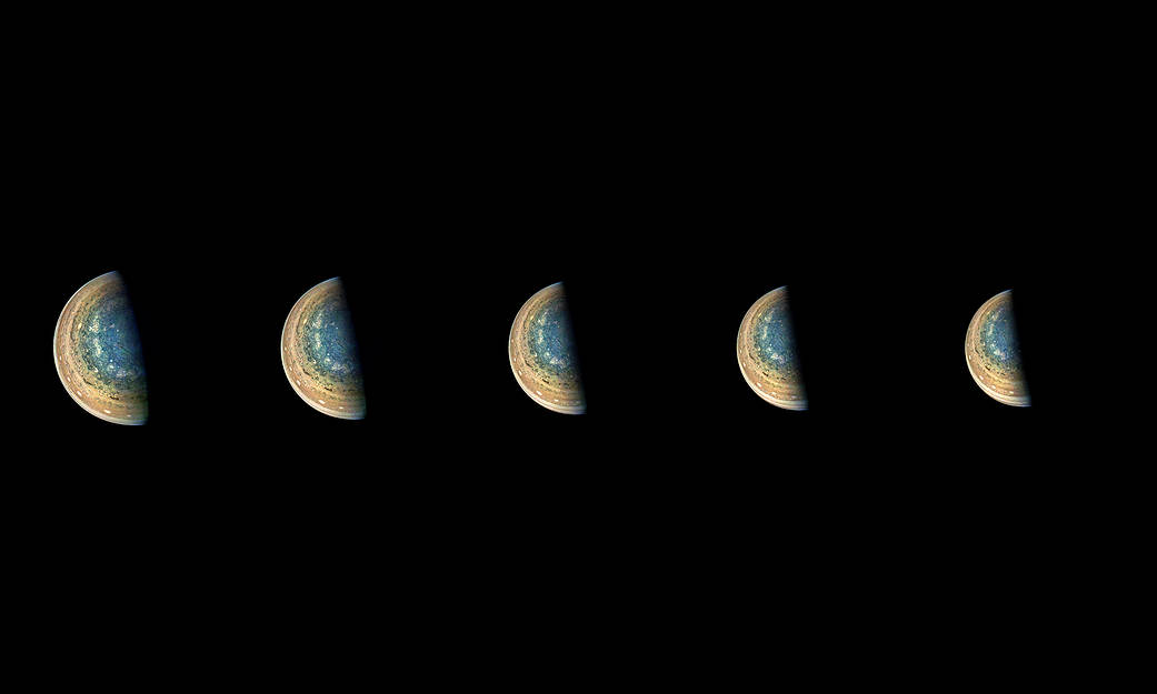Time-lapse sequence of Jupiter's south pole