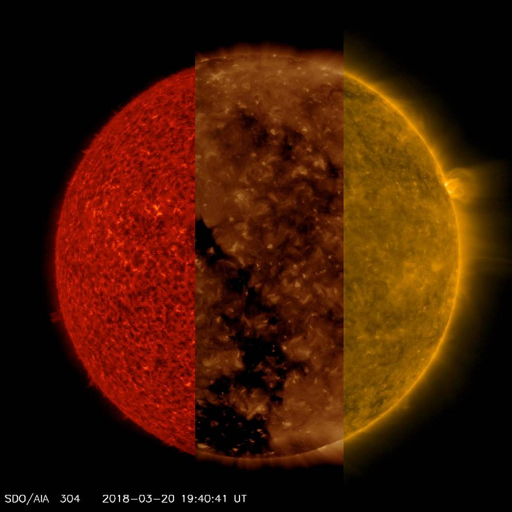 Our Sun: Three Different Wavelengths Pia22360