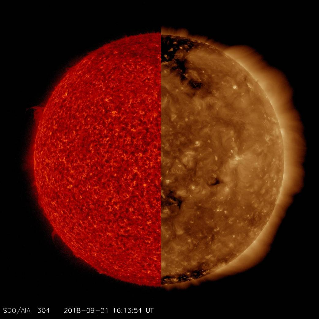 Our Sun: Two Wavelengths, Two Different Images  Pia22724