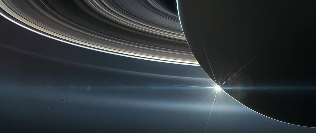 This illustration shows NASA's Cassini spacecraft in orbit around Saturn.