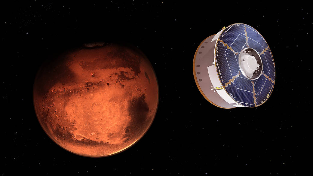 This illustration shows NASA's Mars 2020 spacecraft carrying the Perseverance rover as it approaches Mars
