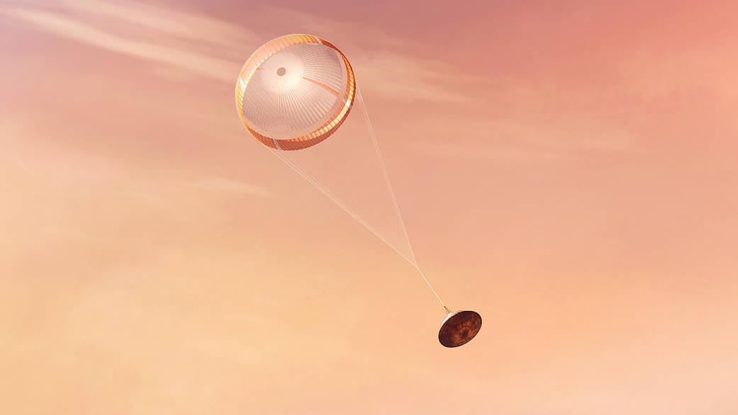Simulación de la apertura del paracaídas de Perseverance. Créditos: NASA/JPL