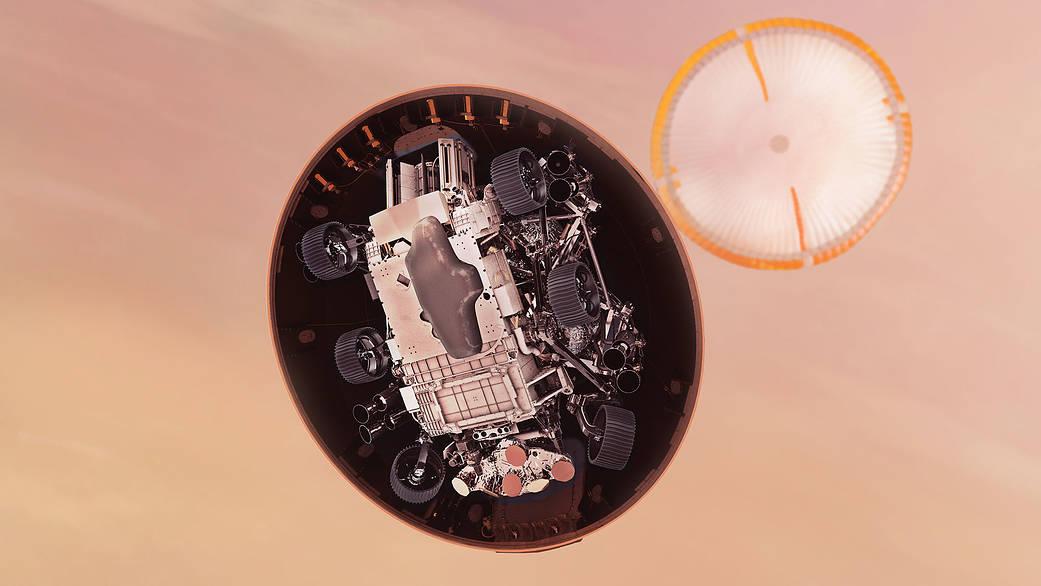 Simulación de la eyección del escudo térmico de de Perseverance. Créditos: NASA/JPL